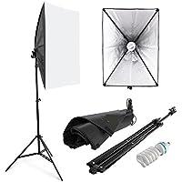 Amzdeal Softbox 50 x 70 cm Kit de Iluminación Ventana de luz para fotográfico, Lluminación Continua Estudio - 1x 135W Bombilla+ 1x Softbox + 1x Trípode Montaje Universal + Bolsa de Tela versión