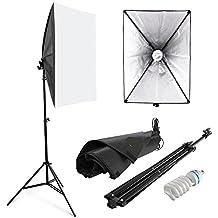 Amzdeal Softbox 50 x 70 cm Kit de Iluminación Ventana de luz para fotográfico, Lluminación Continua Estudio - 1x 135W Bombilla+ 1x Softbox + 1x Trípode Montaje Universal + Bolsa de Tela