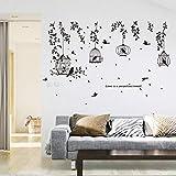 Birdcage Noir Feuilles Stickers Muraux Silhouette 3D Salon Chambre Enfants Stickers Muraux Peintures Murales Film Auto-Adhésif T11 -Wangzhanping T11 -wangzhanping