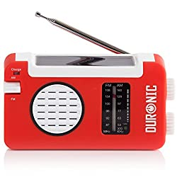 Duronic Hybrid Radio Wind Up Solar & Rechargeable Amfm Radio With Usb Charger Cable
