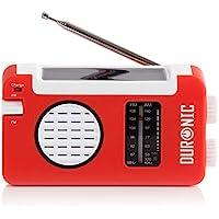 Duronic Hybrid Radio Portable Pequeña FM y AM Estereo con Recarga por Luz Solar, Dinamo y USB - Radios Solares