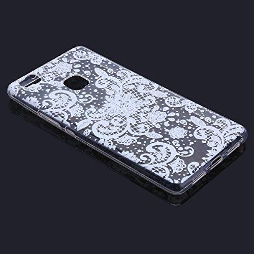 Handytasche Huawei P9 lite Hülle Silikon,Huawei P9 lite TPU Schutzhülle,Huawei P9 lite Handyhülle,Hpory Kreative Schön [Crystal Clear] Durchsichtig Dünn Tpu Silikon Yoga Katze Muster Transparent Ultra Weiße Blume