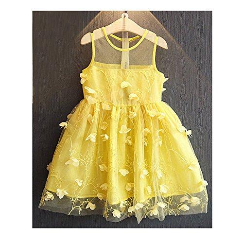 Babykleid Kleinkind Baby Mädchen Blütengürtel Kleid geschichtetes Tüll Tutu Kleid Gelb/120cm