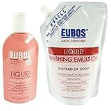 Eubos Flüssig Wasch + Dusch Rot - 200ml + 400ml Nachfüllpack - Körper Lotion