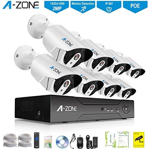 A-ZONE 1080P Full HD Überwachungskamera Set 8CH POE NVR Mit 8 Kugel Kameras 2.0MP Außen/Innen Wasserdichte Sicherheitskamera Nachtsicht Fernbedienung durch Android/iOS/PC Ohne Festplatte Kugel-kamera 1080p