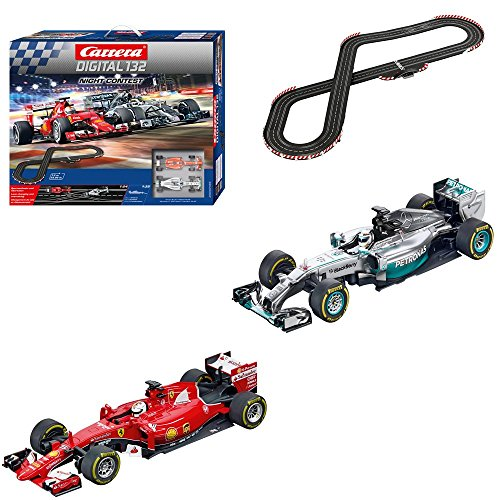 Carrera Digital 132 - Circuito Night Contest con Coches de Juguete Ferrari F1 S Vettel y Mercedes F1 Hamilton, 7.3 m (20030189)