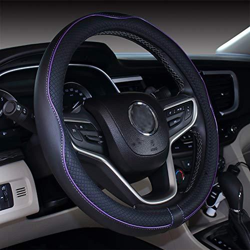 Istn Coprivolante per Auto in Pelle Microfibra 38 cm per la Maggior Parte delle Auto (Nero Viola)