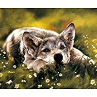 ViewHuge 5D Diamond DIY Painting by Number Kits,Resin Full Square Drill Embroidery Paintings Pictures Arts Craft Kit Home Wall Decor-Dog