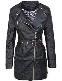 Damen Kunstleder Übergangs Jacke Mantel Damenjacke Biker-Style D-275 ... f150d45694
