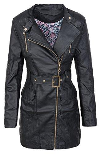 Damen Mantel Kunstledermantel D-275 [T-1690 Schwarz L]