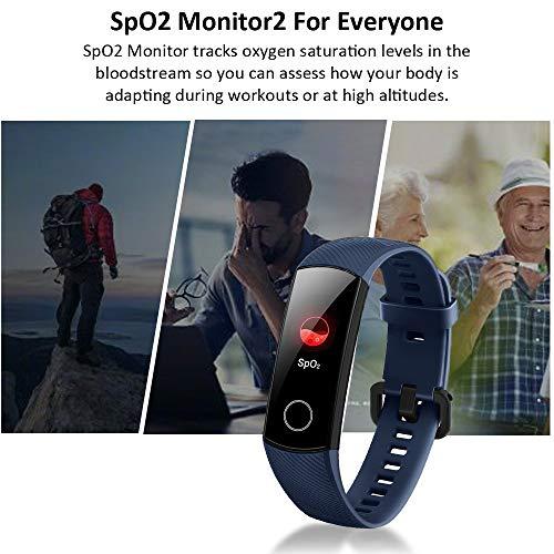 Imagen de honor band 5 smartwatch,pulsera de actividad inteligente reloj impermeable ip68 con pulsómetro,monitor de actividad deportiva, fitness tracker con podómetro azul versión global  alternativa