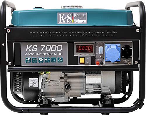 Könner & Söhnen KS 7000 Stromerzeuger, 13 PS 4-Takt Benzinmotor, Kupfer, 5500 Watt, 1x16A, 1x32A (230V) Generator, Automatischer Spannungsregler, Anzeige, für Haus, Garage oder Werkstatt