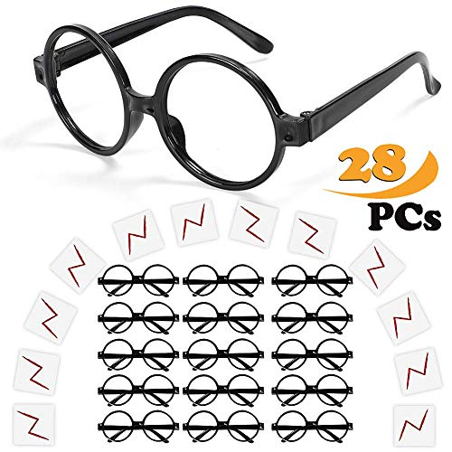 Harry Potter Motto Party Kostüm - Wuree Zauberer-Brille mit rundem Rahmen Keine Linsen und Lightning Bolt Tattoos für Kinder Harry Potter, Halloween, St Patrick Tag Kostüm Party, 16 Pack von jedem, schwarz