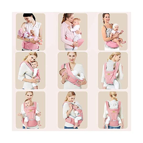 Viedouce Baby Carrier Ergonomic for Newborn,Pure Cotton Front Back Child Carrier with Detachable Hood Multi-Position Soft Backpack Carrier,Complete Safety Protection(0-48 Months) (Pink) Viedouce 【More environmentally friendly】-Baby carrier has high quality pure cotton fabric with 3D breathable mesh take care of your health and the health of your baby; The detachable sun visor and wind cap provide warmth in the winter and freshness in the summer. At the same time, the zipper buckle is designed for easy disassembly and cleaning. 【More ergonomic】 -Baby carrier for newborn has an enlarged arc stool to better support the baby's thighs, the M design that allows the knees to be higher than the buttocks when your baby sits, is more ergonomic. 【Comfort and safety】 - The area near the abdomen is filled with a soft and thick sponge, reduces the pressure on the abdomen and gives more comfort to you and your baby. High quality professional safety buckles and attach, shock absorbing pads, are equipped to protect your baby. 2
