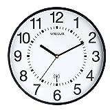 UNILUX 400094564 große Funk-Wanduhr Maxi Wave schwarz 37,5 cm Funkuhr mit modernem Ziffernblatt automatische Zeitanpassung und Zeitumstellung von Sommer- und Winterzeit