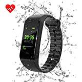 Fitness Tracker (2018 Nuovo Design), Raydoes Color Screen Monitor della frequenza cardiaca Blood Presure Smart Wristband del braccialetto, Sonno Monitor Pedometro Sport Impermeabile Activity Tracker per iPhone Android Smartphone