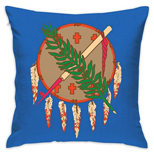 viata sock Oklahoma State Flag Throw Pillow Case Square Decorative Cushion Case Cover for Couch Sofa Bed 18