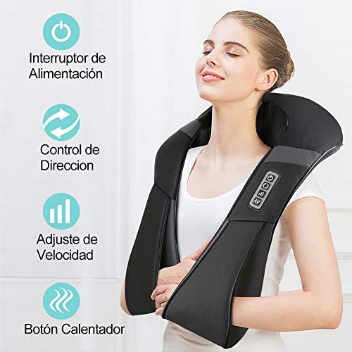 ESSEASON Masajeador de Espalda Shiatsu - 16 Nodos Masajeador Cervical con 3D Amasamiento Profundo Rotación y