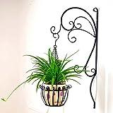 The harvest season Muro di ferro in stile europeo in ferro battuto Fiammifero di balcone Fiori di base semplice Mazzo di fiori in vaso appendente Fioriera Rack ( Colore : Nero )