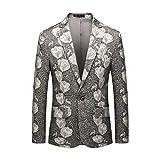 ZODOF Chaqueta Traje Hombre Estampada Casual Negocio Boda Manga Larga Impresión Floral Abrigo Jacket Traje Chaqueta Hombre Elegante,Gris