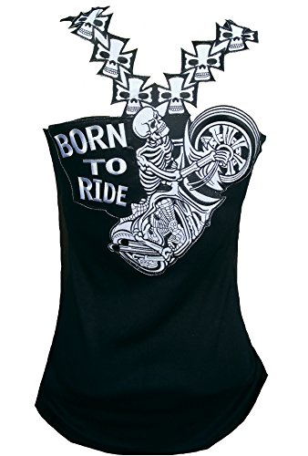 Rockabilly Punk Rock Baby Damen Designer Tank Top Shirt Biker Skull Born to Ride schwarz Tattoo Design S 34/36 -
