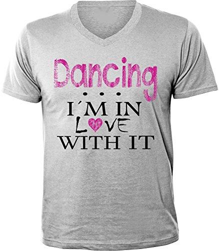 Mister Merchandise Herren Men V-Ausschnitt T-Shirt Dancing - I´m in love Tee Shirt Neck bedruckt Grau