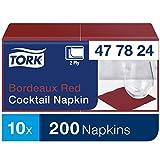 Tork 477824 Tovagliolo Cocktail bordeaux Advanced, 2 veli, 12 pacchi x 200 tovaglioli (2400 pz), 24 cm (lungh.) x 23,8 cm (largh.)