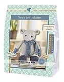 Go Handmade 80129 Mouse, Luis 1 Strickset, Baumwolle, grau/blau, 16 x 7 x 22 cm