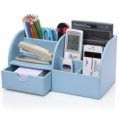 KINGFOM™ 7 Speicherabteil Multifunktionale Kunstleder Schreibtisch Organisator (blau)