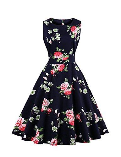 VKStar® Vintage Kleidung Damen 50er 60er Rundhalsausschnitt Hepburn Kleid Retro Damen ärmellos Abendkleid Rockabilly Schwarz (Kleidung Der Jahre Stil 50er)
