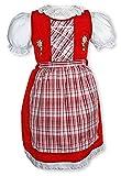 Kinderdirndl mit Karierter Schürze Dirndl mit Stickerei Gr 74-134# 848 (98-104, rot)