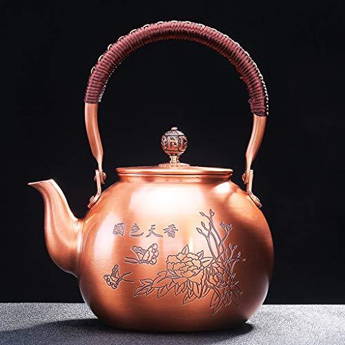 CXQ Chinesischen Retro-Stil Cast Kupfer Teekanne Haushalt Große Kapazität Elektrische Keramikkocher Wasserkocher Pfingstrose Brennen Teekanne Heben Strahl Griff
