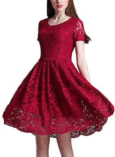 Minetom Femme Vintage Manche Courte Dentelle Floral Col Rond Swing Party Cocktail Robe Vin rouge