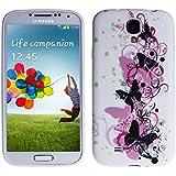 wortek Silikon TPU Schutzhülle Samsung Galaxy S4 i9500 mit Schmetterling Muster in Weiß / Rosa