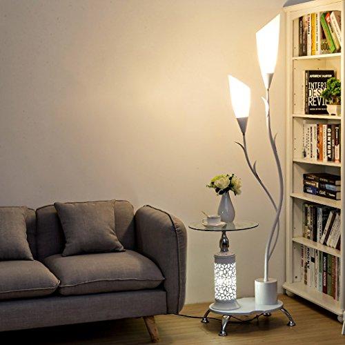 LOFAMI Lampadaire moderne, avec étagères en verre, 2 abat-jour acrylique blanc léger, lampe de stands de décoration en métal pour la chambre à coucher de salon, H171CM ( Color : White )