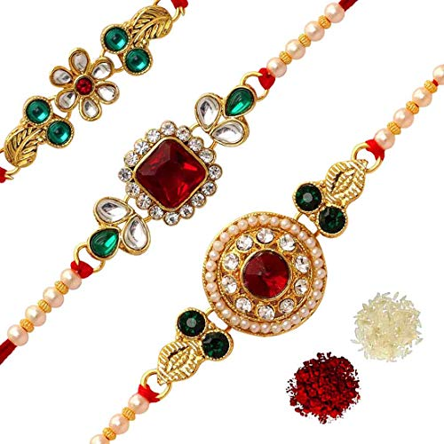 Jaipur Mart Red and Green Kundan Alloy with Gold Plated Rakhi for Brother - Combo of 3 Pieces