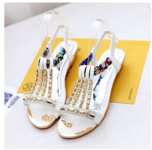 Rugai-eu Étudiants Femmes Sandales Chaussures Plates Diamond Chaussures Slip Slip Silvery