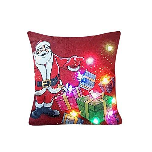 (Gusspower Weihnachtsbeleuchtung LED Blinkende Kissenbezug, Kissenbezug Glow In The Dark, Home Sofa Dekor, Beleuchtung Blinkende Kissenbezug, Led Beleuchtung Kissen, 45cm45cm (D))