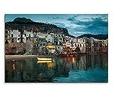 120x80cm Leinwandbild auf Keilrahmen Sizilien Hafenstadt