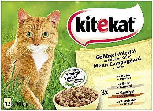Kitekat Katzenfutter Geflügel-Allerlei in Gelee, 12Stück (12 x 100 g)