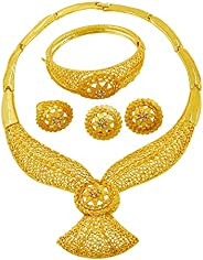 Gold Jewelry Set Dubai African Jewelry Sets for Women 24 K Hollow Golden Luxury Necklace Earrings Bracelet Rin
