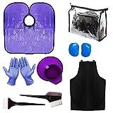 xnicx Kit tinture per capelli viola tinture per capelli colorazione Kit attrezzi per saloni di bellezza pettine per spazzole, copri orecchie, grembiule per capelli, mantellina per capelli
