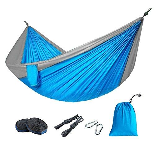 Fypo Hängematte mit Aufbewahrungstasche, Hängebett für Outdoor Camping & Wandern & Reisen & Strand & Garten 270 x 140 cm Belastbar bis 300 Kg