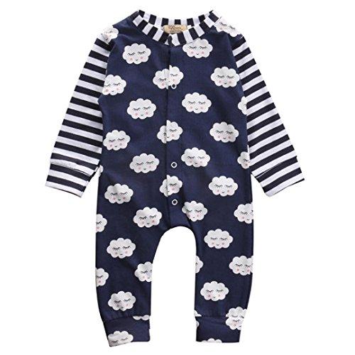 dchen Wolken Drucken Strampelhöschen Hirolan Neugeboren Baby Overall Lange Hülse Baumwolle Outfits Kleider (100cm, Marine) (White Tiger-kostüm-ideen)