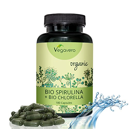 BIO Spirulina + BIO Chlorella | LABORGEPRÜFT und ZERTIFIZIERT | 180 Kapseln | Echte BIO Qualität | Vegan ohne Zusatzstoffe und frei von Gelatine | Vegavero (180 Gelatine)