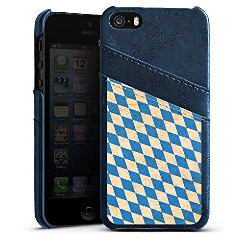 Apple iPhone 5s Housse Étui Protection Coque Bavière Drapeau Bavière Étui en cuir bleu marine