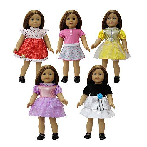 (ZITA ELEMENT 5er Puppenkleidung Kleider für 43-46cm Babypuppe und 17/18 Zoll American Girl Doll Mädchen Rocks Puppen Bekleidung Puppenkleider Puppenkleid)