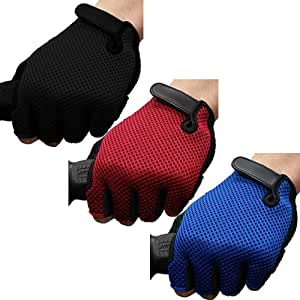 Jazooli Padded Fingerless Bicycle Mountain Road Bike Cycling Half Finger Gloves - Red