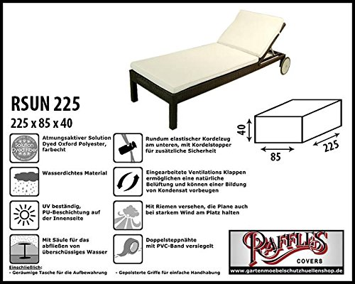 Raffles Covers RSUN225 Wetterschutzhülle für Sonnenliege, Relaxliege und Gartenliege XL