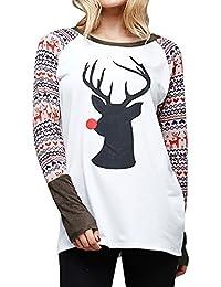 VJGOAL Mujer Otoño E Invierno Moda Elk Navidad Impreso Camiseta O Cuello Blusa Suelta Casual Tops
